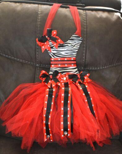 "28"" Girls Room Wall Decor Bow Holder Red Tutu Zebra print Dress"