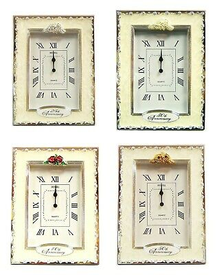 25th 30th 40th 50th Wedding Anniversary Gifts Table Clock Silver Pearl Ruby Gold - 25 Wedding Anniversary Gifts