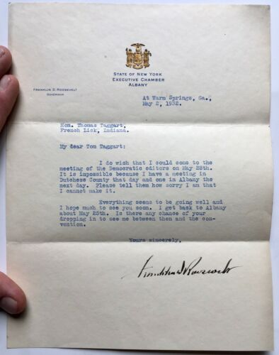 1932 Signed Autograph Franklin D Roosevelt to Thomas Taggart Governor Letterhead