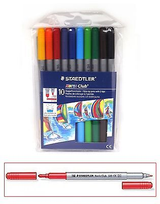 Staedtler 10pc Double Ended Fibre Tip Pens Colouring Drawing Writing Washable