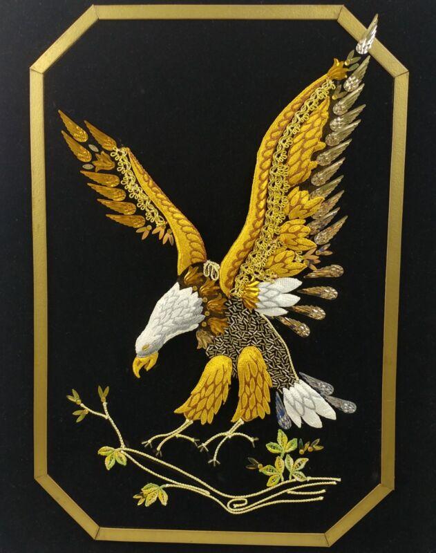 Gold Eagle 3D Embroidery Patriotic American USA Black Silver Beaded Black Velvet