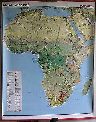 Schulwandkarte map Afrika Africa Wirtschaft 1989 116x144cm Wandkarte Karte Schul