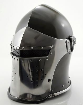 (Medieval-Barbute-Helme-Armour-Roman-with-Inner-Liner-gladiator-wooden-stand-fre)