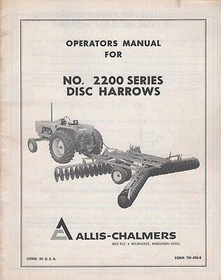 Allis-chalmers Disc Harrows 2200 Series Operators Manual Tm-346b 413