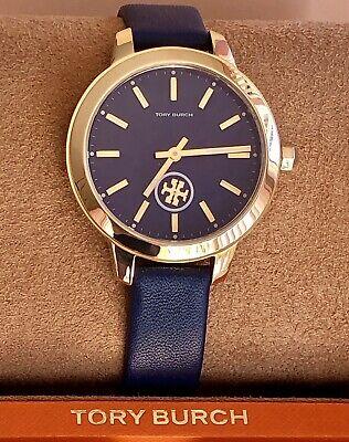 NEW! TORY BURCH COLLINS Navy Blue & Gold 38mm Women's Watch TBW1203 $269