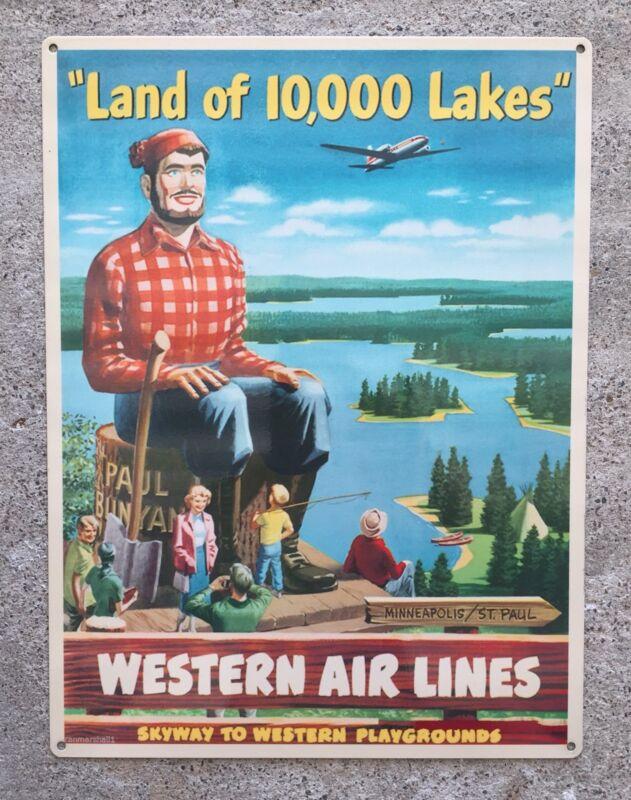 Minnesota Lake Paul Bunyan Vintage Western Airlines Poster Steel Sign Home Decor