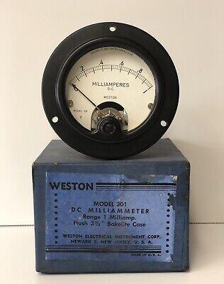 Vintage Weston Panel Meter Dc Milliamperes Model 301 U.s.a Nos Mint