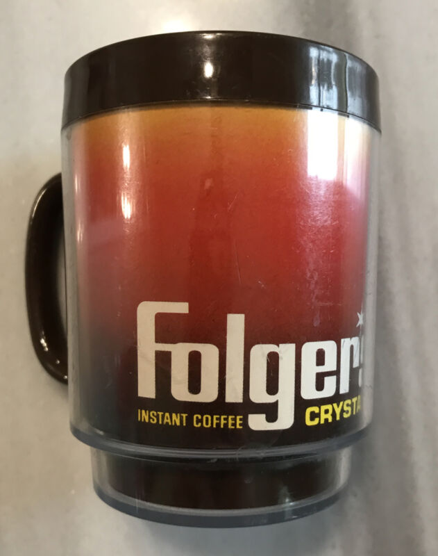 Vintage Thermo Serv Folgers Instant Coffee Crystals Plastic Mug Made In USA
