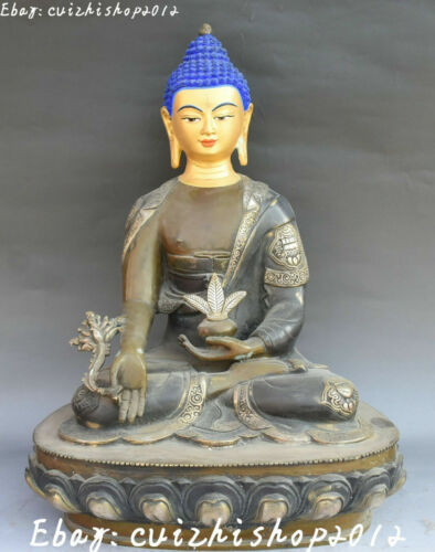 46cm Tibetan Bronze Painting Seat lotus Menla Medicine Buddha medical God Statue