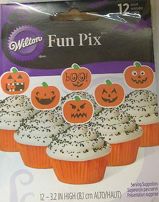 (2) Wilton Halloween Pumpkins Cupcake/Food Picks Fun Pix 24ct Jack o Lanterns (Fun Halloween Cupcakes)