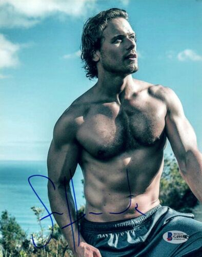 Sam Heughan Signed Autograph 8x10 Photo OUTLANDER Shirtless Pose Beckett BAS COA
