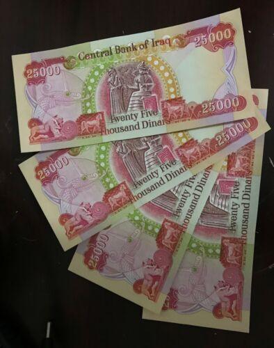 100,000 New Uncirculated Iraqi Dinar 4 x 25,000 (25K) IQD Banknotes