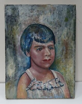 #UPbx ORIGINAL OIL PAINTING ON LINEN CANVAS OF YOUNG GIRL