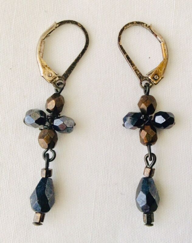 Antique Victorian Cross Mourning/Gothic Jet Bead Iridescent Glass Earrings
