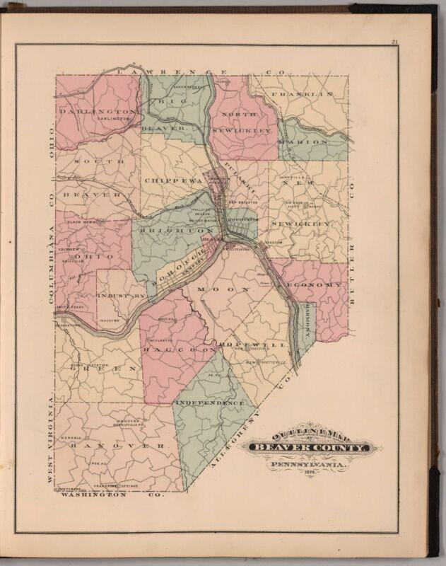 1876 Atlas BEAVER COUNTY PENNSYLVANIA plat maps old GENEALOGY LAND OWNERS DVD P4