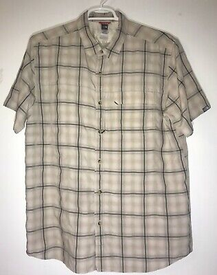 North Face Short Sleeve Button Front Men's Extra Large Tan Plaid Shirt XL