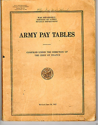 ULTRA RARE WWII U.S. ARMY PAY TABLES 1942 - ORIGINAL STAMPED 1943
