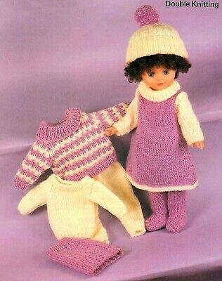 "Knitting Pattern Dolls Clothes DK 16 18 20""  Dress, Tights, Jumper, Skirt, Hat"