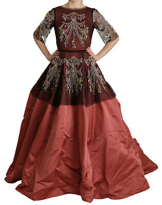 DOLCE & GABBANA Dress Crystal Chandelier Silk Princess Gown IT42/ US8 / M $31000