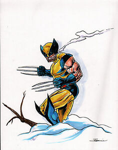 ORIGINAL-ART-WOLVERINE-by-Artist-Damon-Bowie-FULL-COLOR-PRELIM-Art-HAND-SIGNED