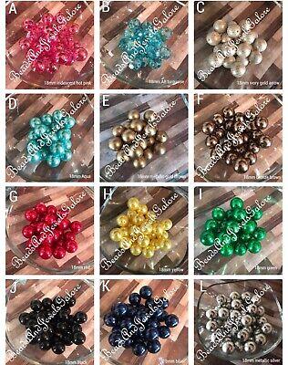 (18mm Pearl Metallic Chunky Bubblegum Beads acrylic beads chunky necklace beads)