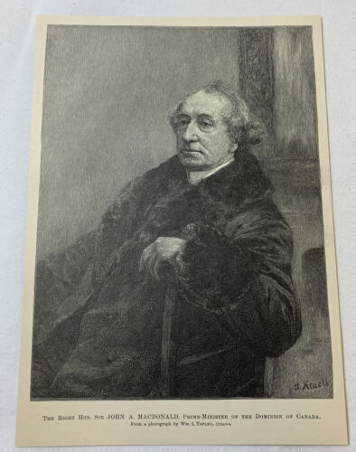 1889 magazine engraving ~ SIR JOHN A MACDONALD