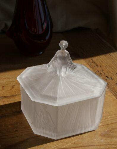 Art Deco Roxana Frosted Satin Glass Powder/Trinket Box
