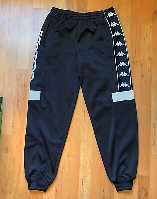Vintage Kappa Side Script Spellout Sweat Track Pants Banda Navy Size Medium