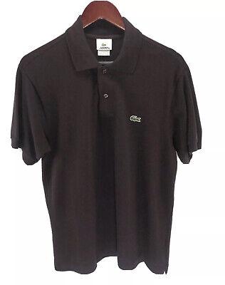 LACOSTE Mens Black 100% Cotton Croc Logo Short Sleeve Golf Polo Shirt Size 4