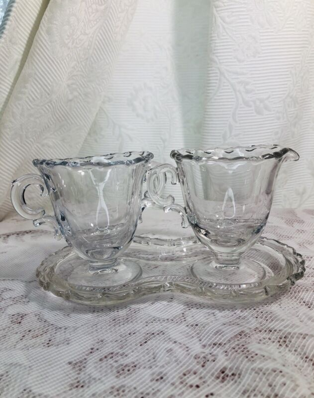 Vintage Century Pattern Sugar & Creamer With Tray EVC. Made In Fossorial Glass.