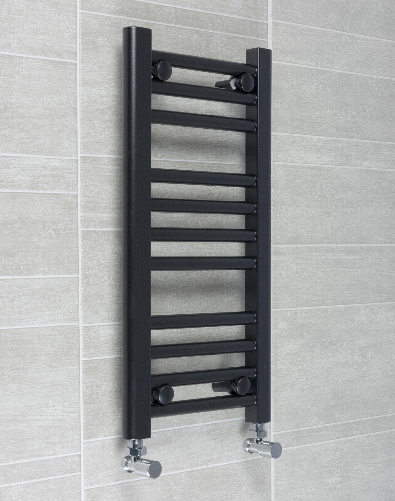 300mm wide black designer electric heated towel rail radiator straight bathroom ebay for Electric heated towel rails for bathrooms