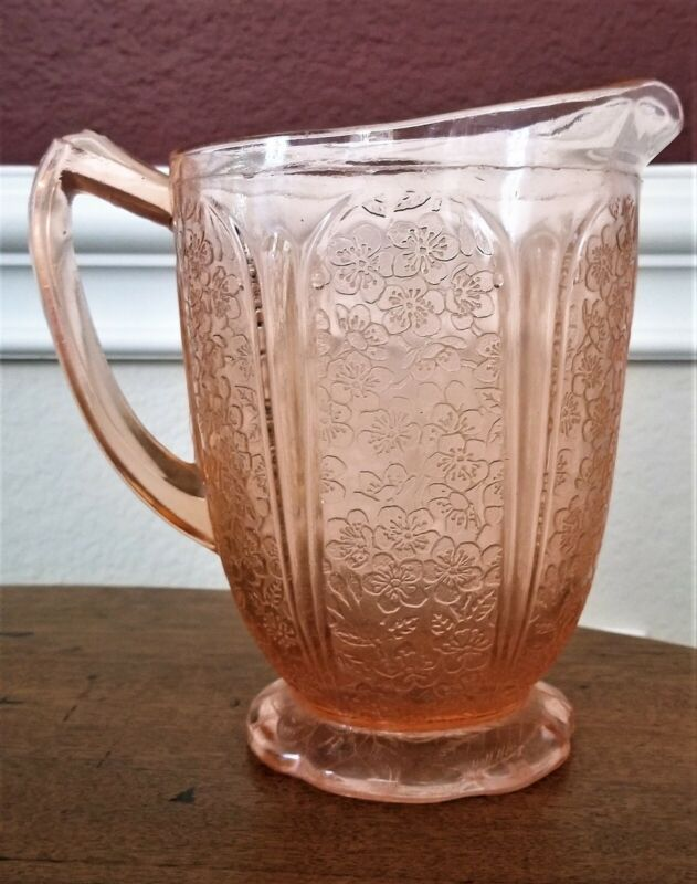 Authentic Vintage Cherry Blossom Pink Depression Glass Pitcher by Jeanette Glass