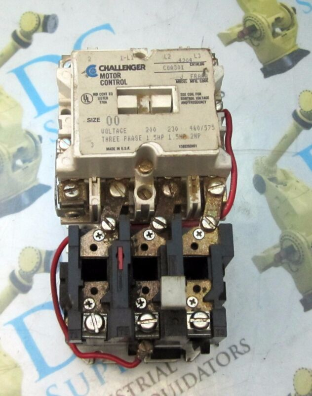 CHALLENGER MOTOR CONTROL 4204 CUA301 SIZE 00 575 V 2 HP W/ BA13A OVERLOAD RELAY