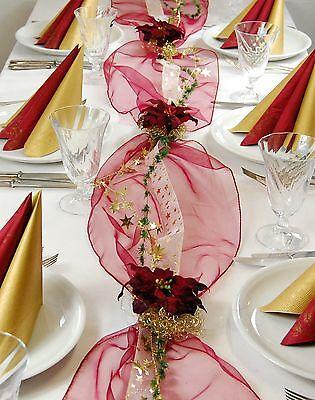 Komplette Tischdekoration für Weihnachten/Winter für ca. 8-10 Pers. in bordeaux