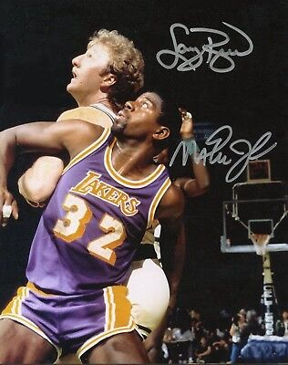 Autographed Larry Johnson Photo (Reprint Larry Bird Magic Johnson Autographed 8X10 PHOTO Man Cave DECOR BAR Shop )