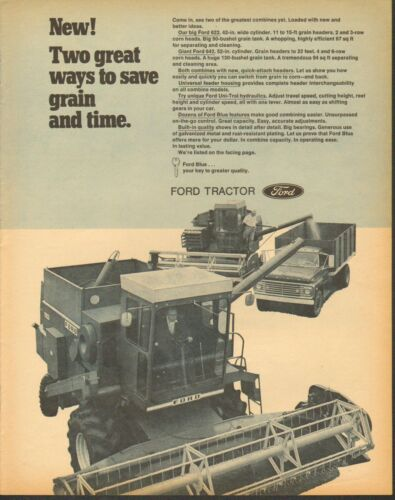 1971 LARGE Print Ad of Ford 642 & 622 Farm Tractor Combine