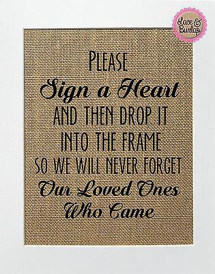 Burlap Signs (Please Sign a Heart.. / Burlap Print Sign UNFRAMED / Shabby Vintage Wedding)