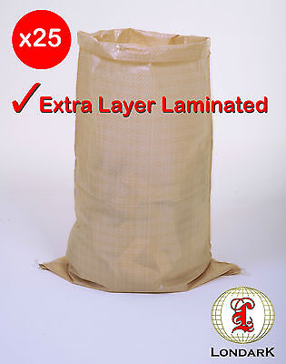 25 Woven Laminated PP POLYPROPYLENE Grain Bags Sacks Size 19.7