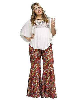 Groovy 60's Hippie Peace Bell Bottom Pants Adult Costume Accessory, Plus Size (Plus Size 60's Halloween Costumes)