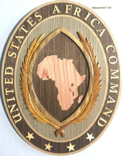 AFRICA COMMAND - AFRICOM - Handcrafted Military Wood Art Plaque