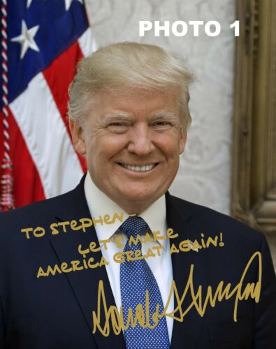 Personalized President Donald Trump Gold Autographed 8x10 Photo - FREE SHIPPING!