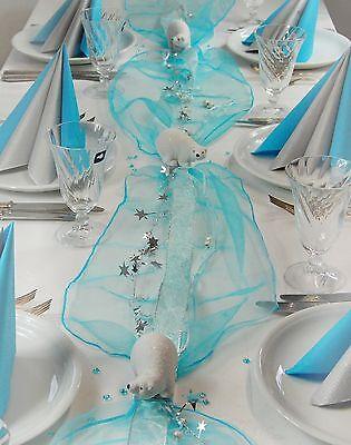 Komplette Tischdekoration für Weihnachten/Winter für ca. 8 - 10 Pers. in Eisblau