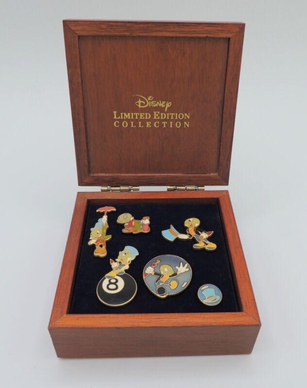 RARE Disney Jiminy Cricket LE Pin Collection 2003 Wooden Box Set