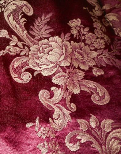 Antique Vtg. Romantic Boudoir Floral Roses Satin Damask Brocade Fabric ~ Merlot