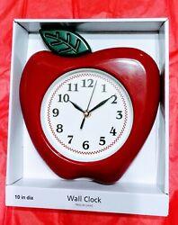3D Apple Wall Clock 10 in. H Quartz movement Arabic numerals Novelty design