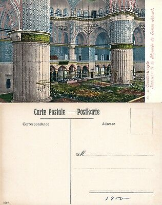 (SULTAN AHMED MOSQUE INTERIOR ISTANBUL TURKEY ANTIQUE POSTCARD )