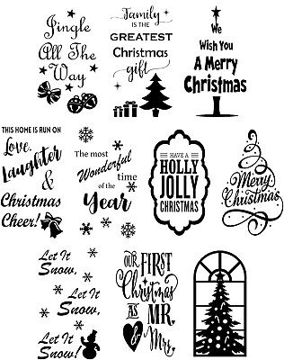 Christmas Bumper Craft Pack Assorted Vinyl Decal Stickers for Wine Bottle Crafts