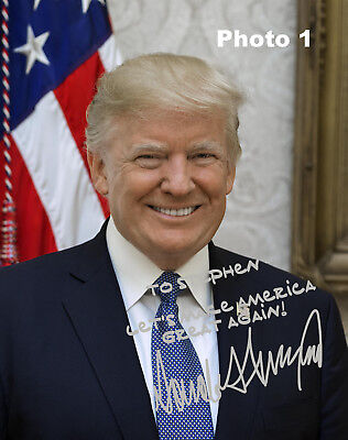 Customized President Donald Trump Silver Autographed 8X10 Photo   Free Shipping