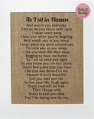 Burlap Signs (As I Sit In Heaven / Burlap Print Sign UNFRAMED / Rustic Memorial Poem Loved)