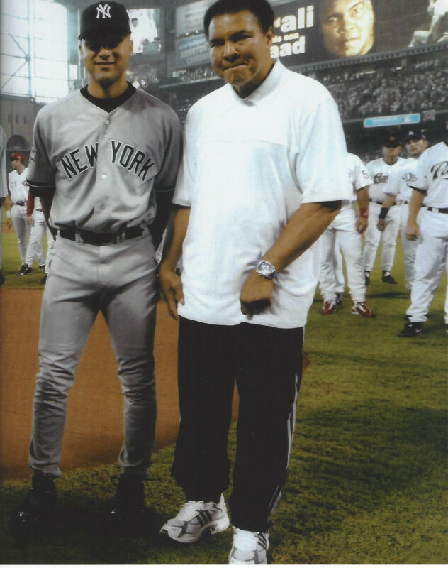 NY Yankees Derek Jeter with Muhammad Ali  8x10  photo at All Star Game